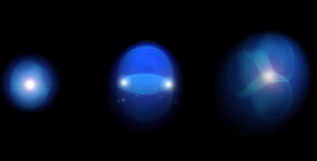 Visualization of expanding drops of quark gluon plasmas in three geometric shapes. (Credit: Javier Orjuela Koop)