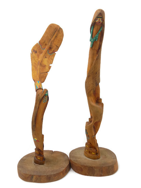"Vintage Acoma ""Long Hair"" Sculptures, Signed FD Aragon, NM / Carved, Painted Cottonwood Root/ Native American Fine Art"