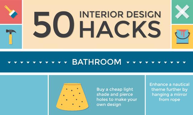 50 Interior Design Hacks Infographic