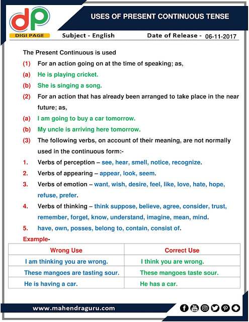 DP | Uses Of Present Continuous Tense For IBPS Clerk | 06 - 11 - 2017