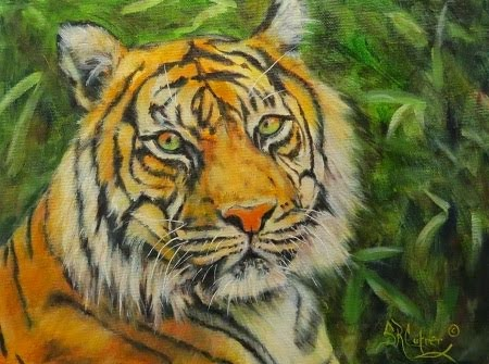 """Roaring on the River"" , tiger in oils"