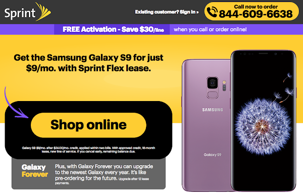 Lease the Samsung Galaxy S9 for $9 per month on Sprint