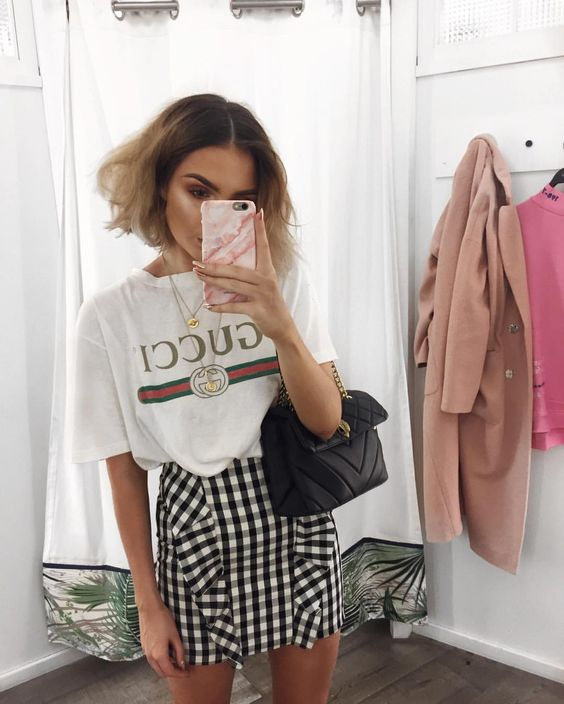 gingham outfit idea instagram pinterest gucci tshirt and gingham skirt