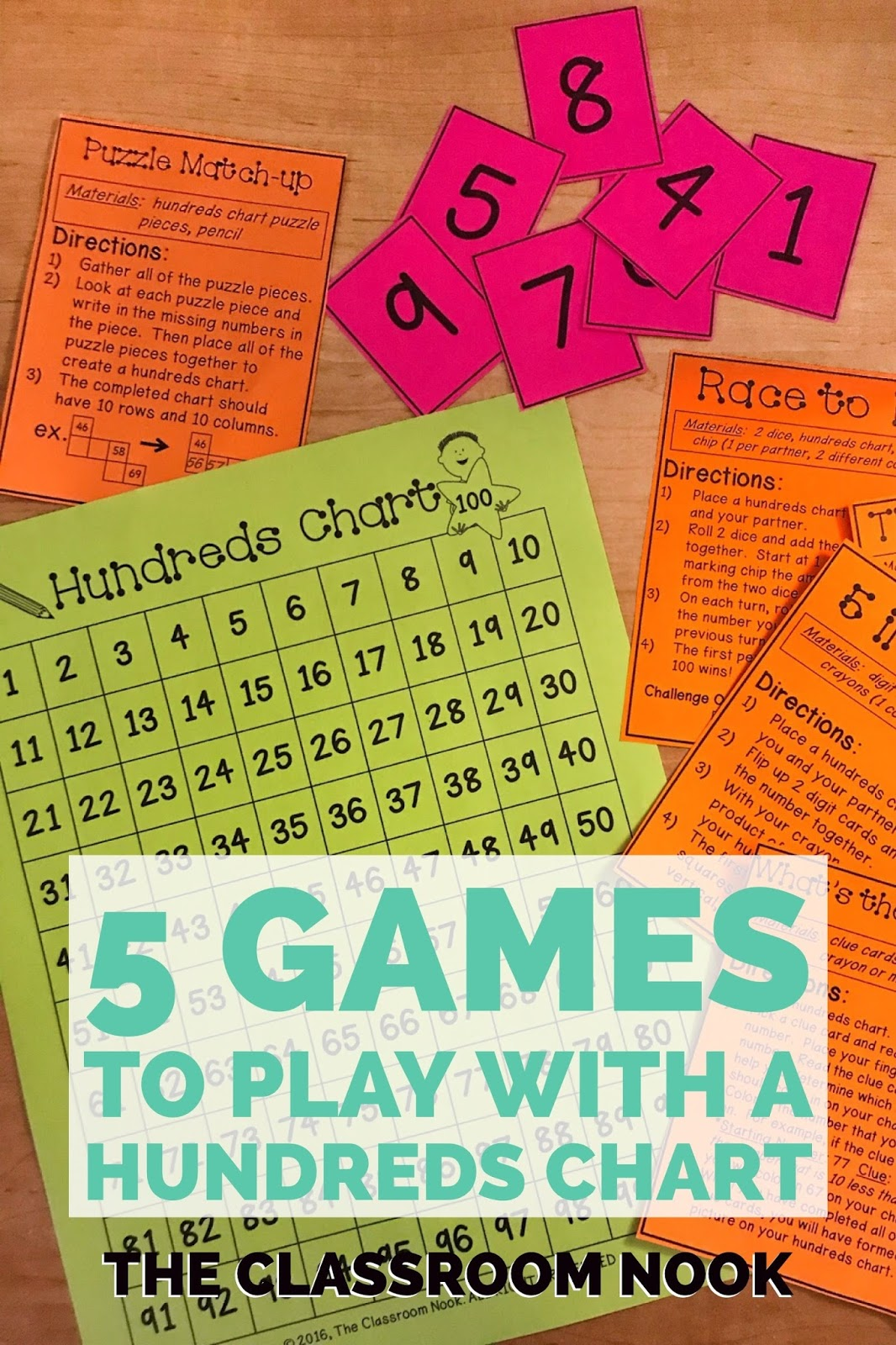 Check out this post with a FREE DOWNLOAD that includes 5 games to play with a hundreds chart #teachingmath #hundredschart