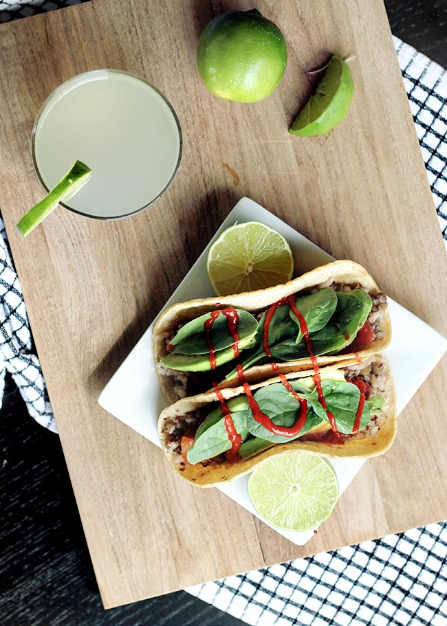 Jasmine Rice, Lentil, and Red Quinoa Tacos