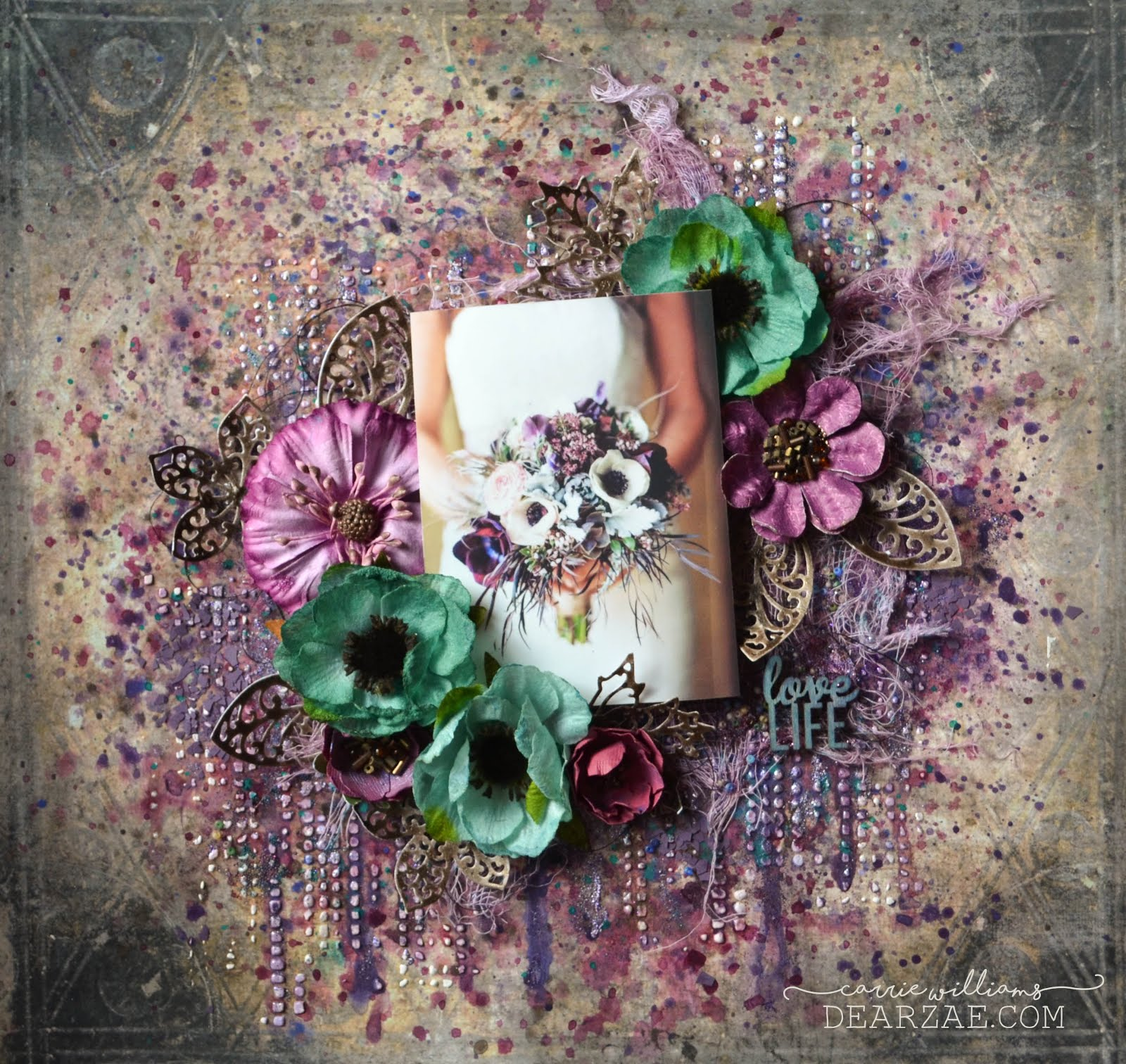 Mixed media scrapbook layout in purple and teal blue, Prima Timeless memories forever paper and prima moroccan dies, and Petaloo anemones against a background using texture paste, stencils, and Tim Holtz distress inks and sprays