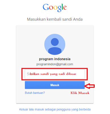 Masukkan Email dan Password di Blogger