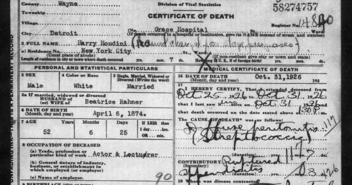 Wild About Harry Houdinis Death Certificate Online