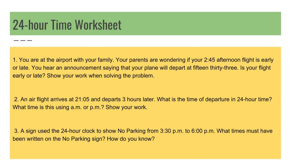 12 and 24 hour time problem solving