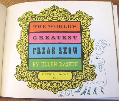 Title page of The World's Greatest Freak Show with artist signature and art