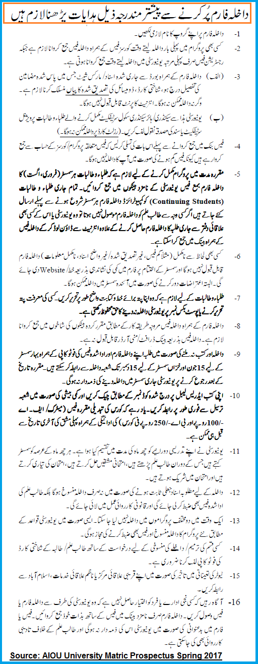 Allama Iqbal Open University Islamabad - aiou.pk: AIOU Admissions ...