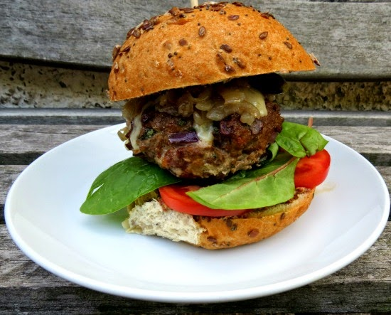 Beef Burgers with Gruyere and Caramelised Onions
