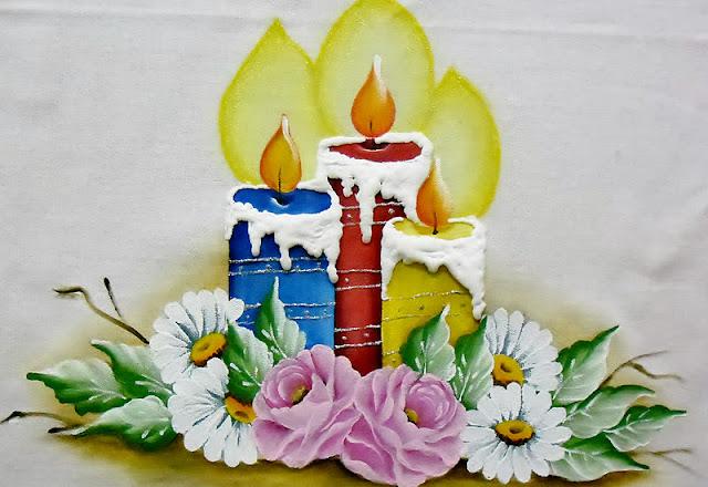 pintura de natal  velas coloridas e rosas e margaridas