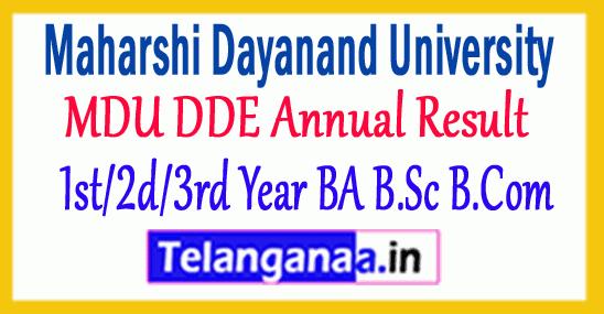 MDU DDE Annual Result 2019 1st/2nd/3rd Year BA B.Sc B.Com