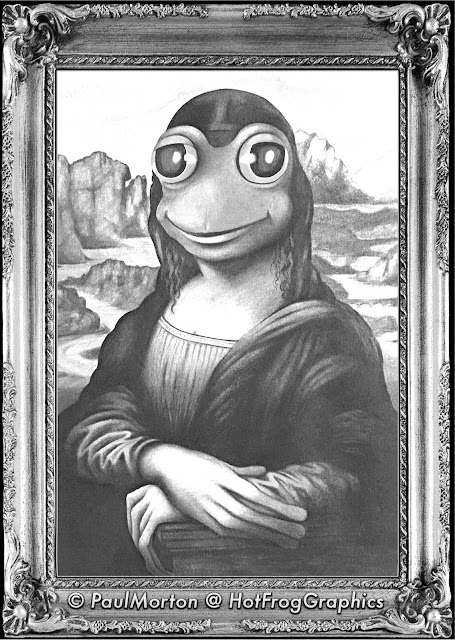 Black & White Mona Lisa Frog image
