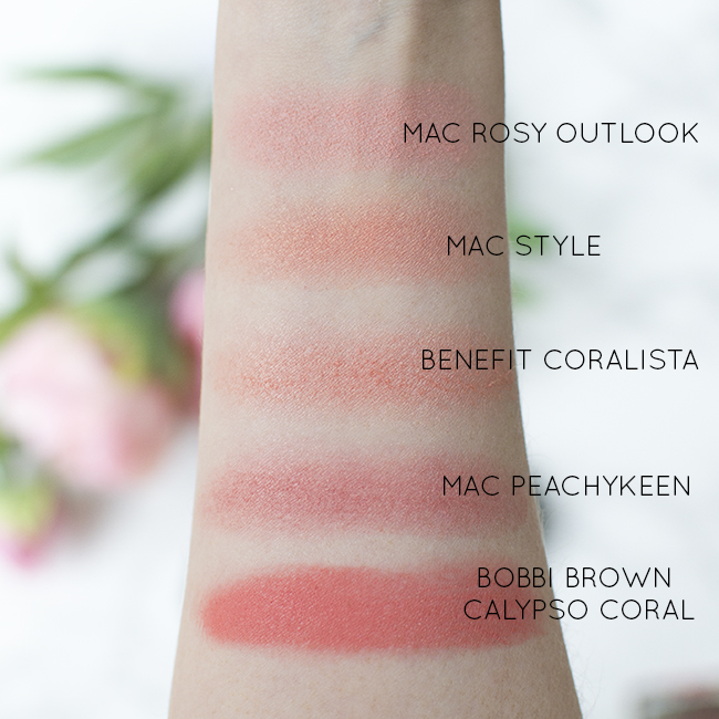 Swatches - Bobbi Brown Calypso Coral, MAC Style, MAC Peachykeen, MAC Rosy Outlook, Benefit Coralista