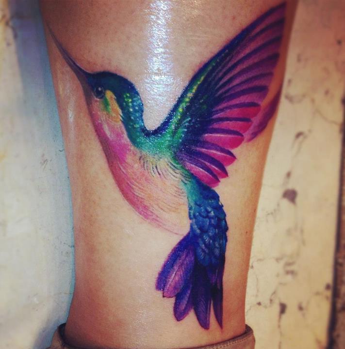 Hummingbird Tattoo: Watercolor Hummingbird Tattoo