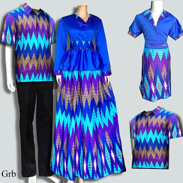 Baju Lebaran Batik Sarimbit Keluarga Murah Semi Sutra