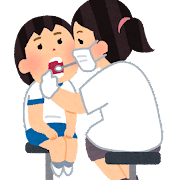 歯科検診のイラスト(学校の健康診断・女の子)