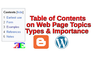 Table of Contents (ToCs) on Web Page Topics: Types, Significance, and the Effect on SEO Ranks