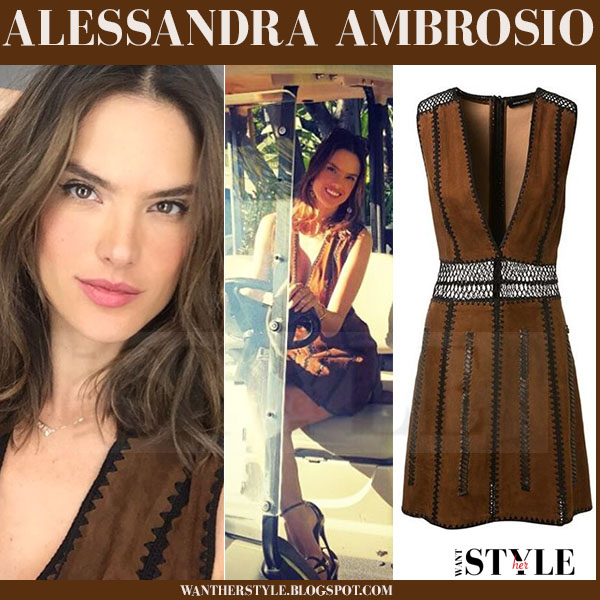25c28df518 Alessandra Ambrosio in brown suede dress and gold ankle strap ...