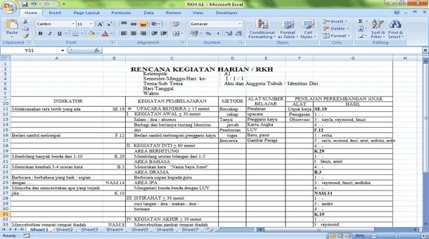 RKH (Rencana Kegiatan Harian) TK Kelompok A B