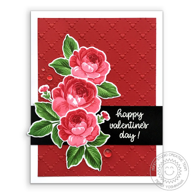 Sunny Studio Stamps Everything's Rosy Layered Rose Valentine's Day Card (using Happy Thoughts Stamps & Quilted Hearts Embossing Folder)