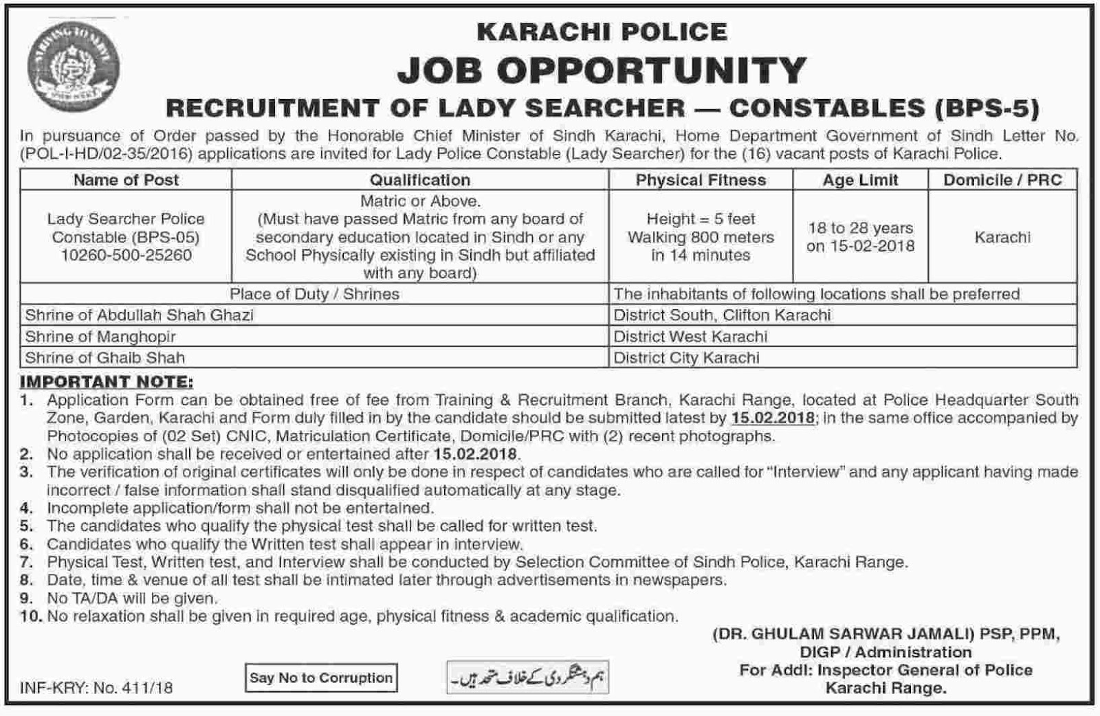 Lady Constable Jobs In Karachi Police January 2018