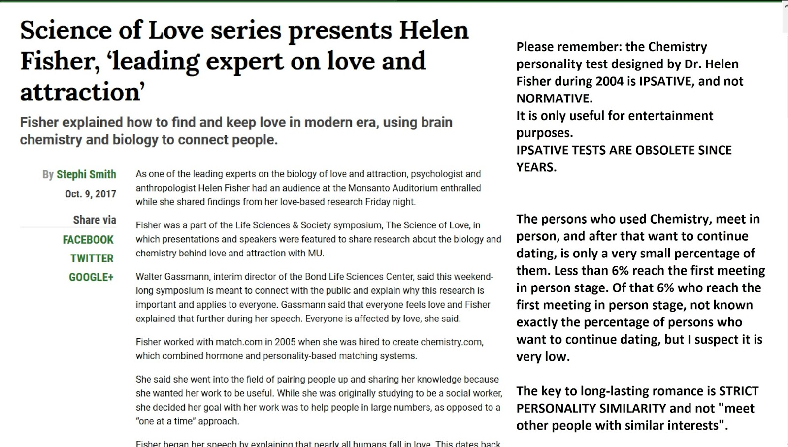 Dr helen fisher love test