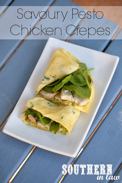 Healthy Low Carb Savoury Chicken and Pesto Crepe Recipe