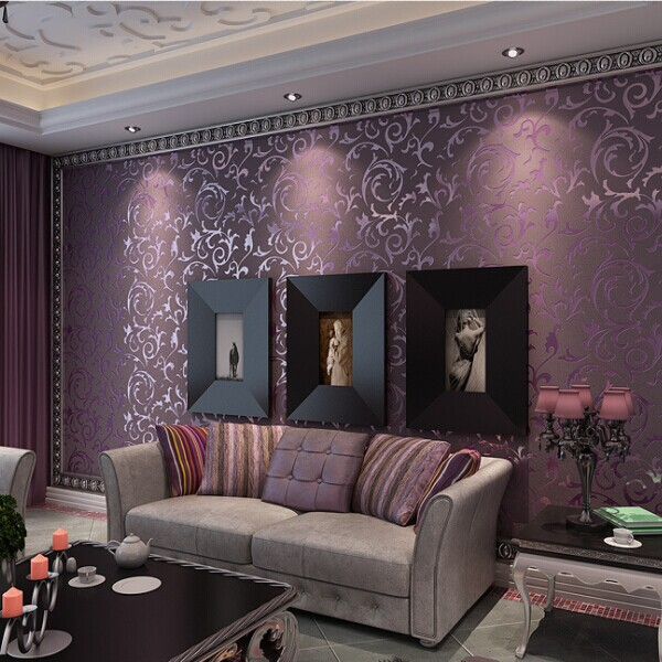 purple wallpaper living room jasa pemasangan wallpaper dinding murah di manado 15096