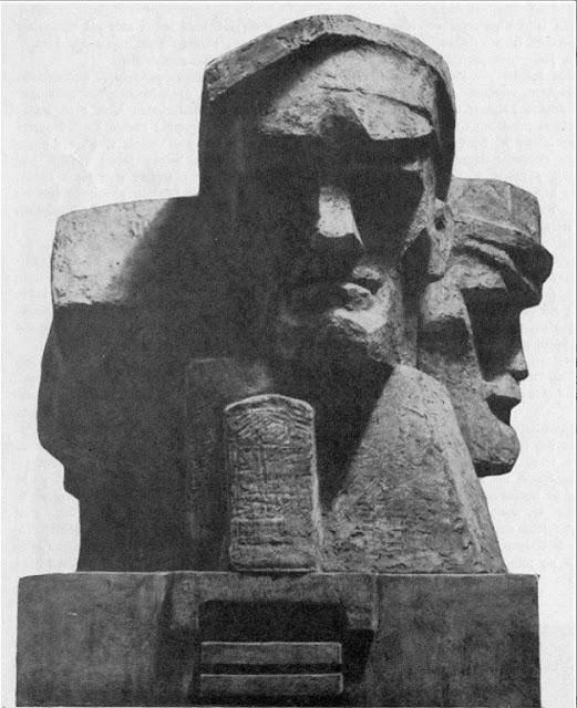 Памятник Латышским красным стрелкам. Второе место на конкурсе памятника революционным борцам в 1966 году было отдано работе скульптора Мауриньшу.