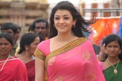 Kajal-Agarwal-pink-saree
