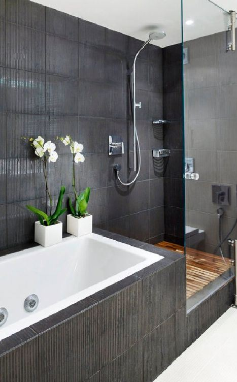 black bathroom interior design