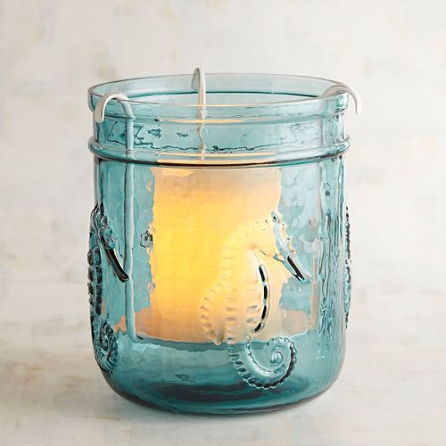Blue Glass Seahorse Votive Candle Holder