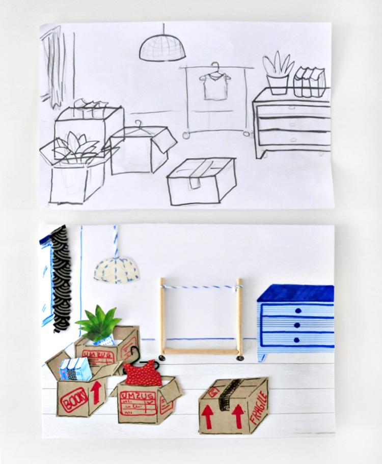 miss red fox diy umzugskarte mit 39 umzugsgut 39 a diy new home card with removable 39 moving goods 39. Black Bedroom Furniture Sets. Home Design Ideas
