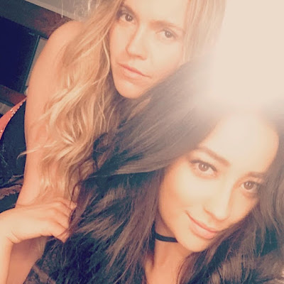 Lulu Brud Zsebe and Shay Mitchell PLL bts filming 7x05 and 7x06