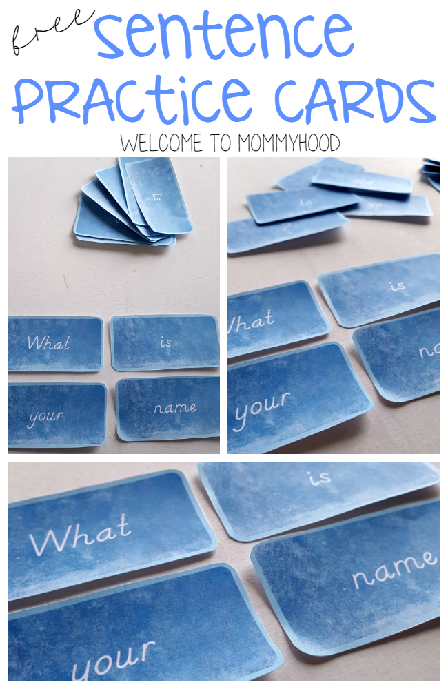 Free printables: Simple sentence cards for ESL or early readers by Welcome to Mommyhood, #esl, #montessoriprintables, #montessori, #freeprintables