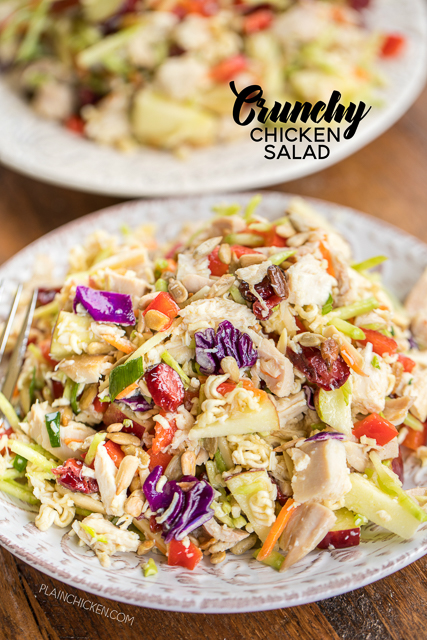 Crunchy Chicken Salad - seriously the best chicken salad EVER! SO different, but crazy good! Chicken, broccoli slaw, red apple, sunflower kernels, dried cranberries, green onions, red bell pepper, slivered almonds, ramen noodles, tossed in vegetable oil, vinegar, sugar and ramen seasoning. Can make ahead of time and refrigerate until ready to serve. Makes a ton - great for a party!