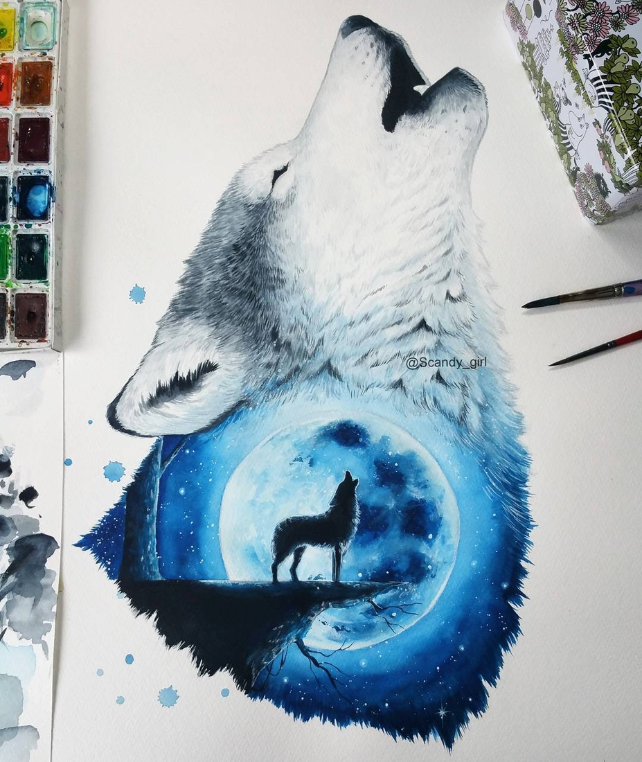 13-The-Moon-and-the-Wolf-Jonna-Lamminaho-Mixed-Media-Animal-Paintings-www-designstack-co