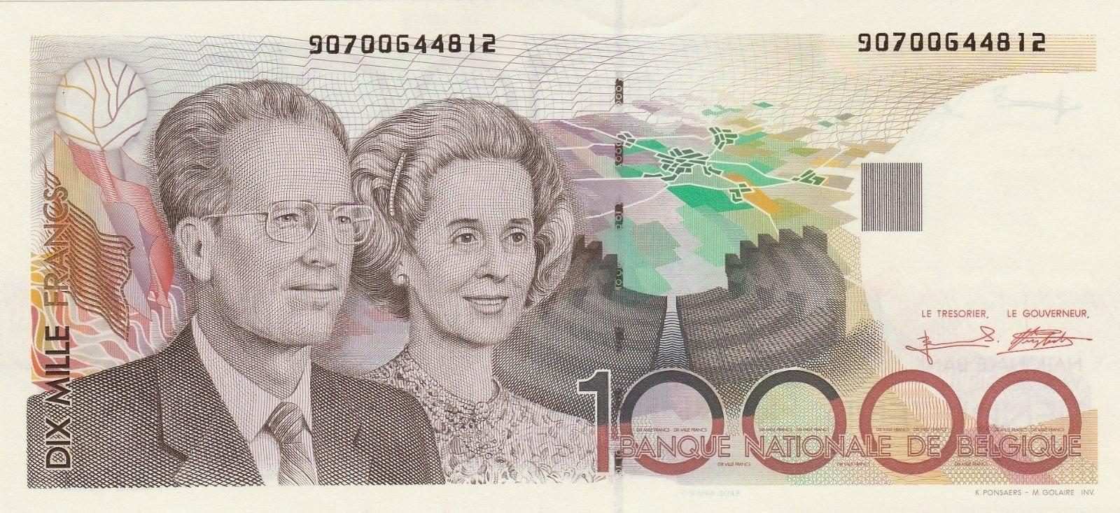 Belgium Banknotes 10000 Francs banknote 1992 King Baudouin and Queen Fabiola