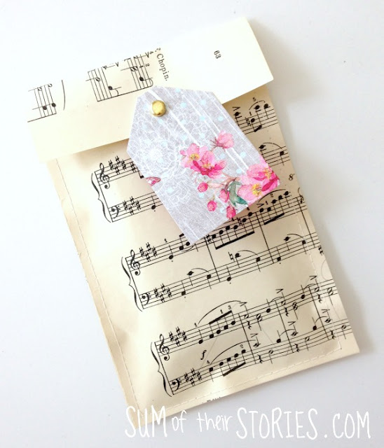 gift bag made from sheet music