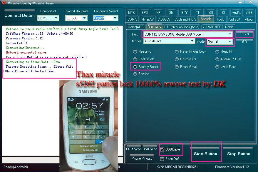 Samsung s5282 pattern lock done Miracle box ~ DK Mobile Services