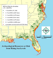 Tens of thousands of known archaeological sites are threatened by sea level rise in the southeast, and far more currently unknown and unrecorded. (Credit: Anderson et al., 2017 CC-BY) Click to Enlarge.