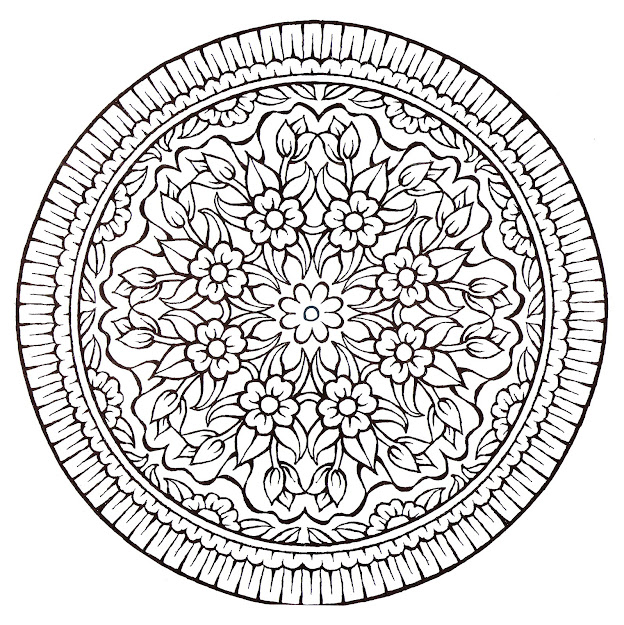 Mandala Very Vintage Style With Lot Of Flowers  From The