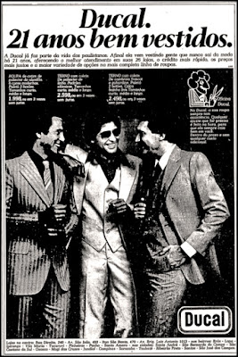 propaganda Lojas Ducal - 1978; moda masculina anos 70; moda anos 70; propaganda anos 70; história da década de 70; reclames anos 70; brazil in the 70s; Oswaldo Hernandez