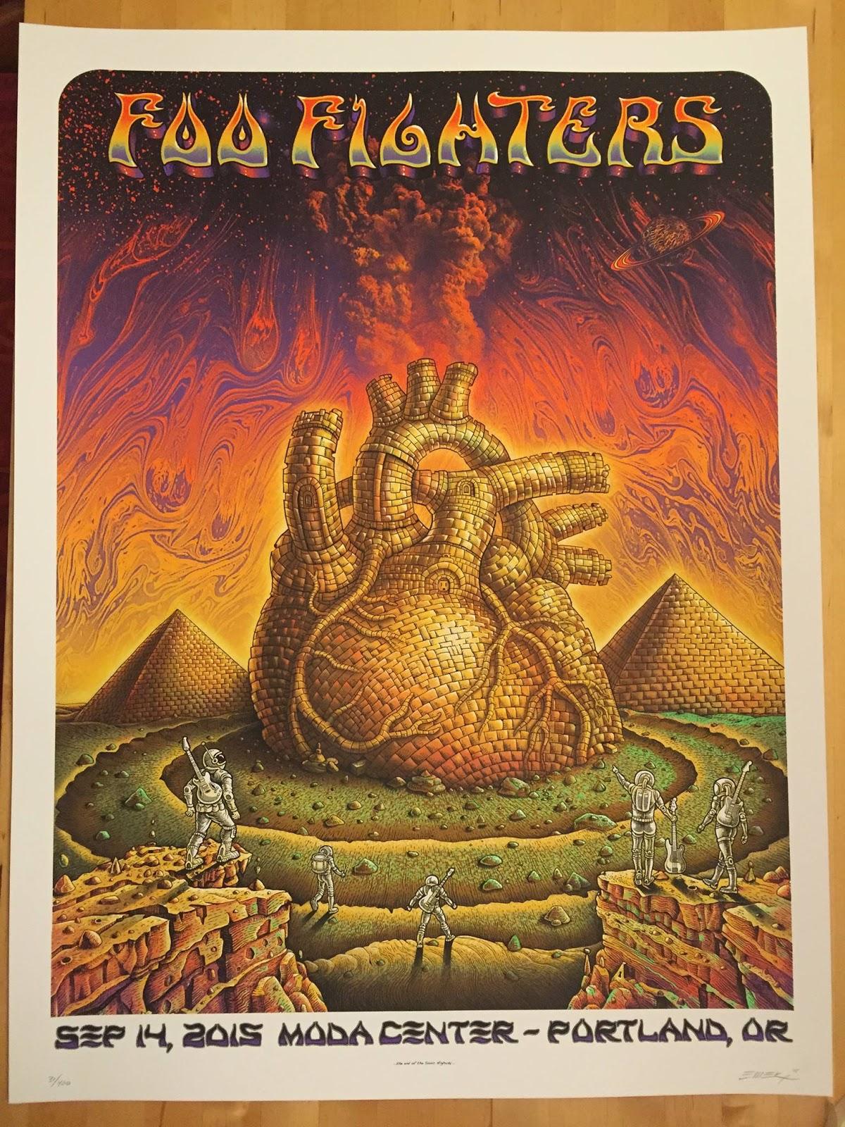 INSIDE THE ROCK POSTER FRAME BLOG: Emek Foo Fighters Portland Poster