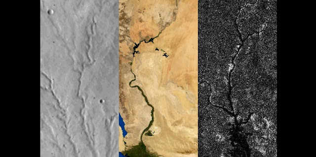 Left to right: River networks on Mars, Earth, and Titan. Researchers report that Titan, like Mars but unlike Earth, has not undergone any active plate tectonics in its recent past.  Image: Benjamin Black/NASA/Visible Earth/JPL/Cassini RADAR team. Adapted from images from NASA Viking, NASA/Visible Earth, and NASA/JPL/Cassini RADAR team