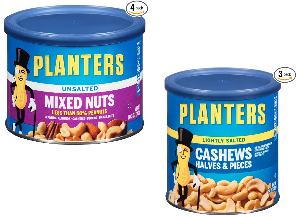 Planters Nuts Sale! 4 Canisters of 10.3oz Planters Mixed Nuts $11.36 on planters salted peanuts, planters unsalted nuts, planters tube nuts, planters dry roasted peanuts,