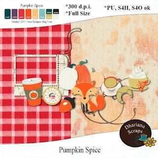 Pumpkin Spice Pixel Scrapper Blogtrain